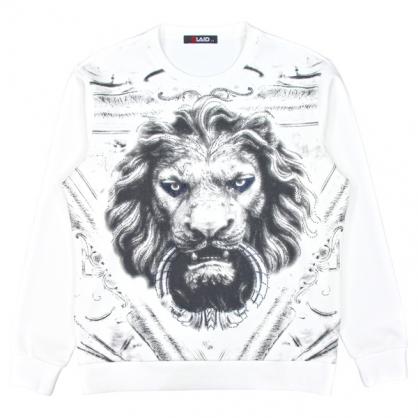 092257獅王燙鑽絲光棉布圓領衛衣-白色