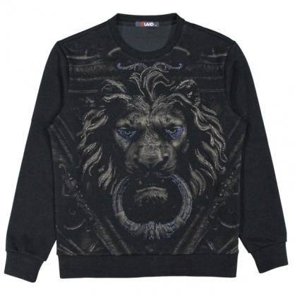 092257獅王燙鑽絲光棉布圓領衛衣-黑色