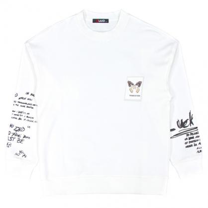 092261雙面彩棉蝴蝶塗鴉數碼直噴印花衛衣-白色
