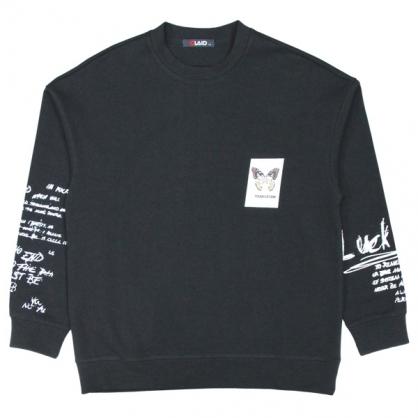 092261雙面彩棉蝴蝶塗鴉數碼直噴印花衛衣-黑色