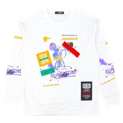 092275抽象塗鴉熊手工印圓領衛衣-白色
