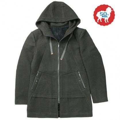072635經典素面內裏絨布羊毛連帽休閒大衣-黑色