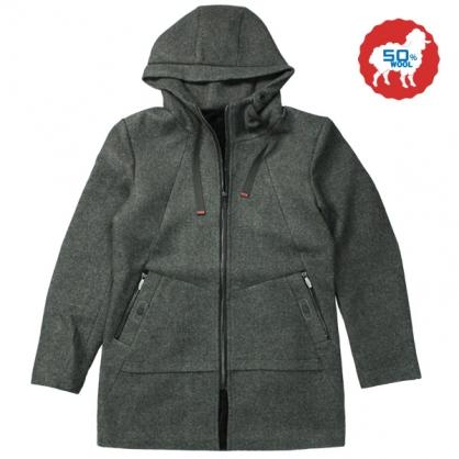 072635經典素面內裏絨布羊毛連帽休閒大衣-深灰色