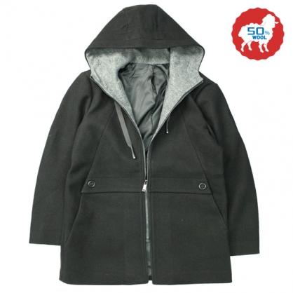 072637經典素面雙配色大斜口袋羊毛連帽休閒大衣-黑色
