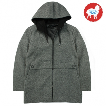 072637經典素面雙配色大斜口袋羊毛連帽休閒大衣-深灰色