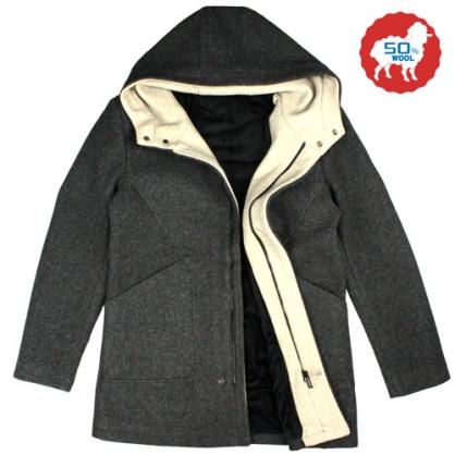 072638經典素面雙配色內裏絨毛羊毛連帽大衣-黑色