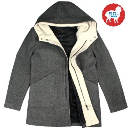 072638經典素面雙配色內裏絨毛羊毛連帽大衣-深灰色