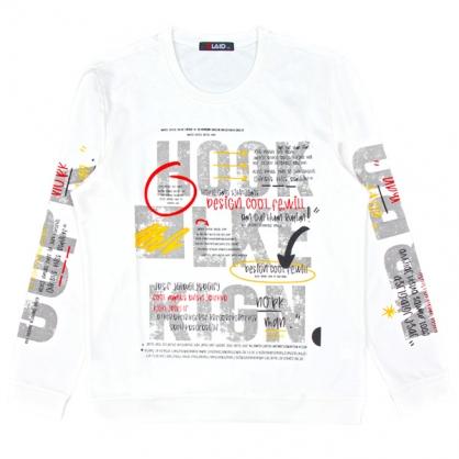 092277水漿印刷工藝字母排列棉衣-白色