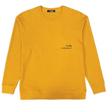 092290素面刺繡微落肩圓領衛衣-黃色