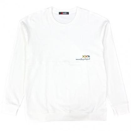 092290素面刺繡微落肩圓領衛衣-白色