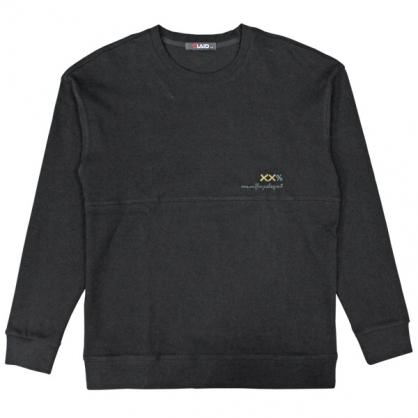 092290素面刺繡微落肩圓領衛衣-黑色