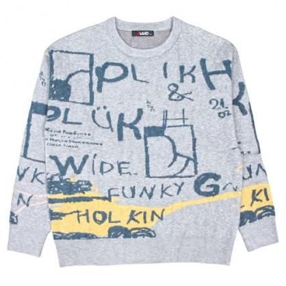 092121滿版跳動字母緹花棉料針織毛衣-灰色