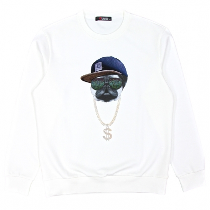 092255嘻哈粉鑽巴哥棉料圓領衛衣-白色