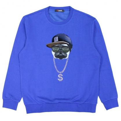 092255嘻哈粉鑽巴哥棉料圓領衛衣-藍色