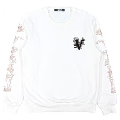 092259立體毛刷繡字母膠漿線條工藝衛衣-白色