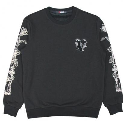 092259立體毛刷繡字母膠漿線條工藝衛衣-黑色