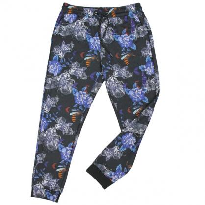 092803花卉蜜蜂數碼印花彈性羅紋縮口褲