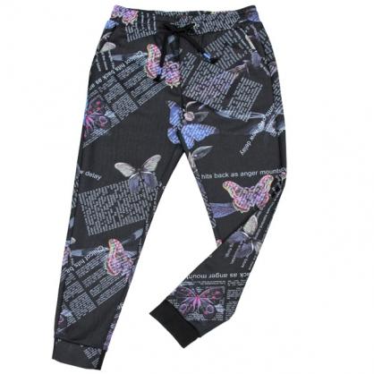 092804彩虹蝴蝶數碼印花彈性羅紋縮口褲