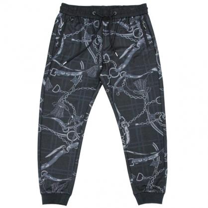 092807格紋枷鎖數碼印花彈性羅紋縮口褲