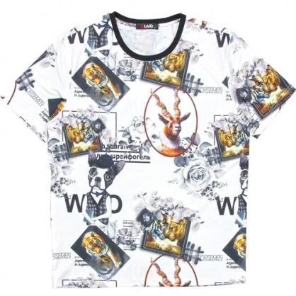 211201滿版老虎狗絲麻數碼印花圓領T恤-白色