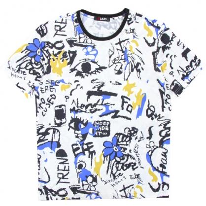 211202滿版字母塗鴉絲麻數碼印花圓領T恤