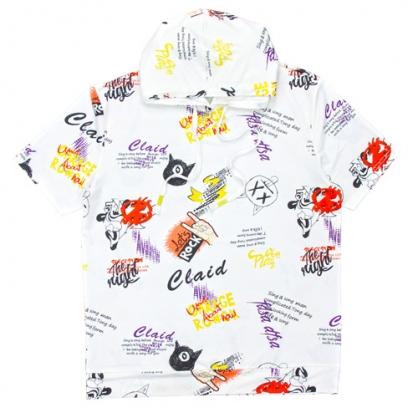 211203A滿版小惡魔絲麻數碼印花連帽T恤