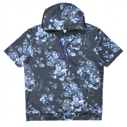 211205A滿版花卉絲麻數碼印花連帽T恤