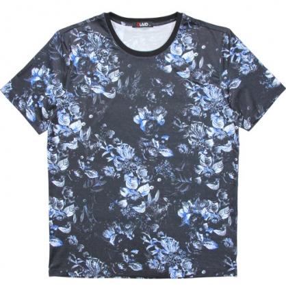 211205滿版花卉絲麻數碼印花圓領T恤