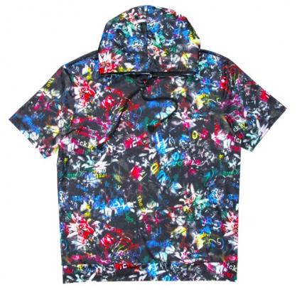 211206A滿版舞動彩繪絲麻數碼印花連帽T恤