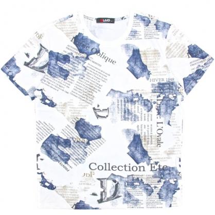 211211滿版字母塊狀印花圓領T恤-白色