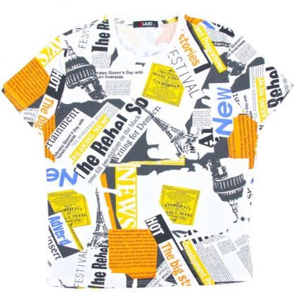 211212滿版雜誌拼接數碼印花圓領T恤
