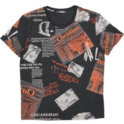 211215滿版美式字母風數碼印花圓領T恤-黑色