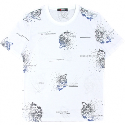 211221滿版漸層老虎絲光燒花圓領T恤-白色