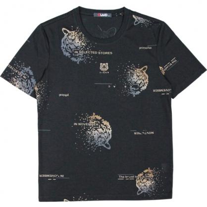 211221滿版漸層老虎絲光燒花圓領T恤-黑金色