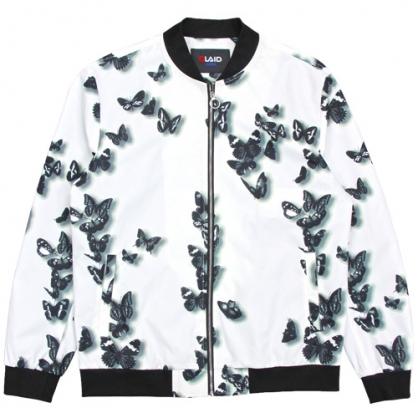 211507經典重現黑白蝴蝶數碼印花外套