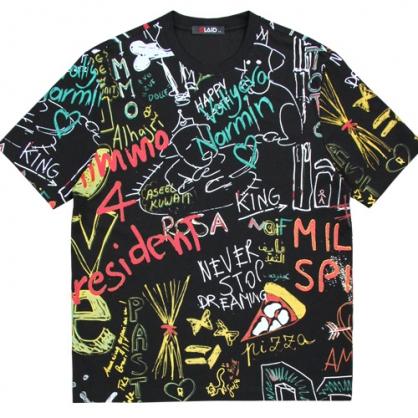 211266滿版街頭塗鴉數碼膠印圓領T恤