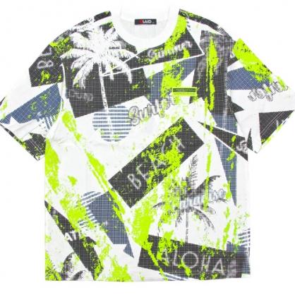 211277滿版棕欖樹螢光綠印花棉料T恤-白色