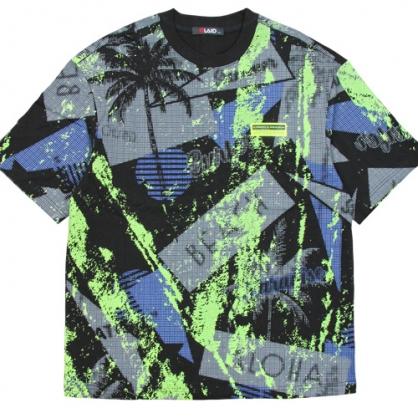 211277滿版棕欖樹螢光綠印花棉料T恤-黑色