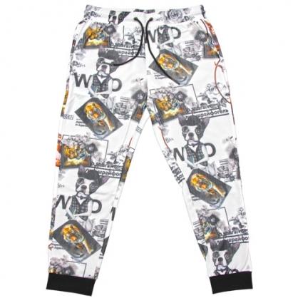 211801滿版老虎狗數碼印花彈性羅紋縮口褲-白色