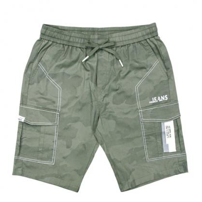 211913輕工裝迷彩反車線彈性休閒中褲-綠色