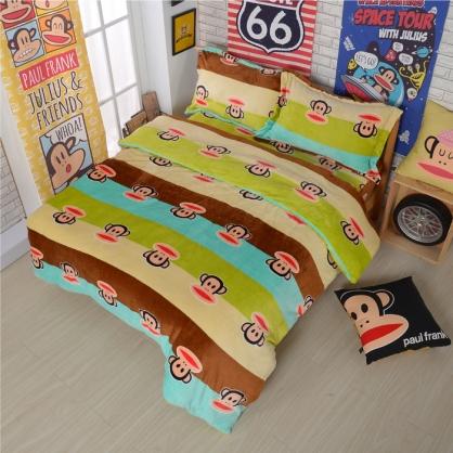 【大嘴猴】時尚派對法蘭絨四件式床包組-加大(加厚重磅)(隨機贈暖被乙件)