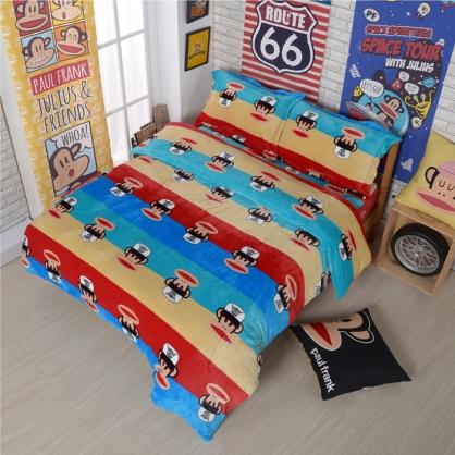 【大嘴猴】奔跑熱情法蘭絨四件式床包組-雙人(加厚重磅)(隨機贈暖被乙件)