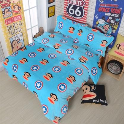 【大嘴猴】隊長報到法蘭絨四件式床包組-雙人(加厚重磅)(隨機贈暖被乙件)