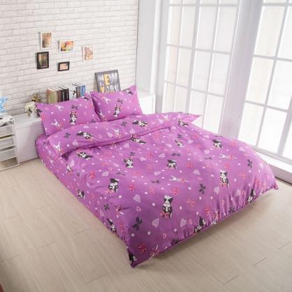 浪漫愛心吸濕排汗鋪棉兩用被床包組-雙人
