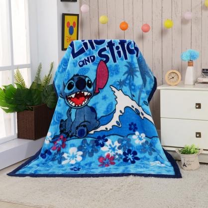 【Disney】藍色史迪頂級加厚法蘭絨休閒毯
