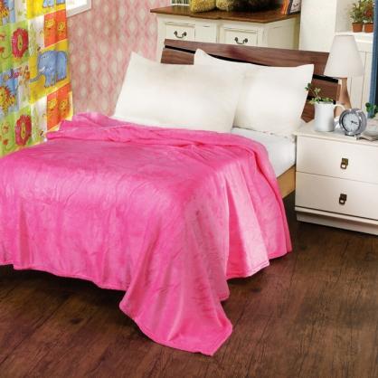 蜜桃紅法蘭絨毯