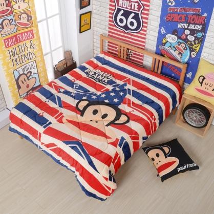 【大嘴猴】美國派對法蘭絨暖暖被(贈大嘴猴法蘭絨休閒毯乙件)