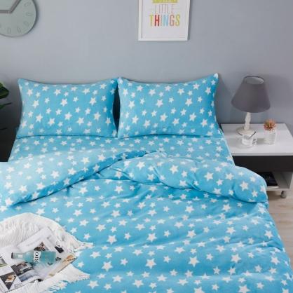 湛藍星點防靜電法蘭絨兩用毯