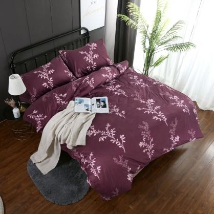 紫葉秋靜精梳棉兩用被床包組-雙人