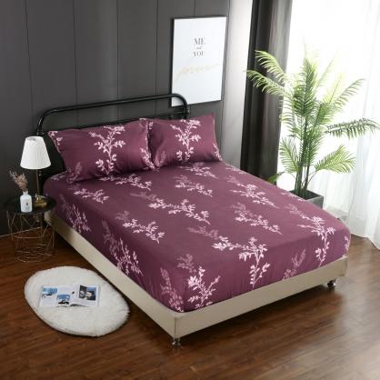紫葉秋靜精梳棉三件式床包組-特大